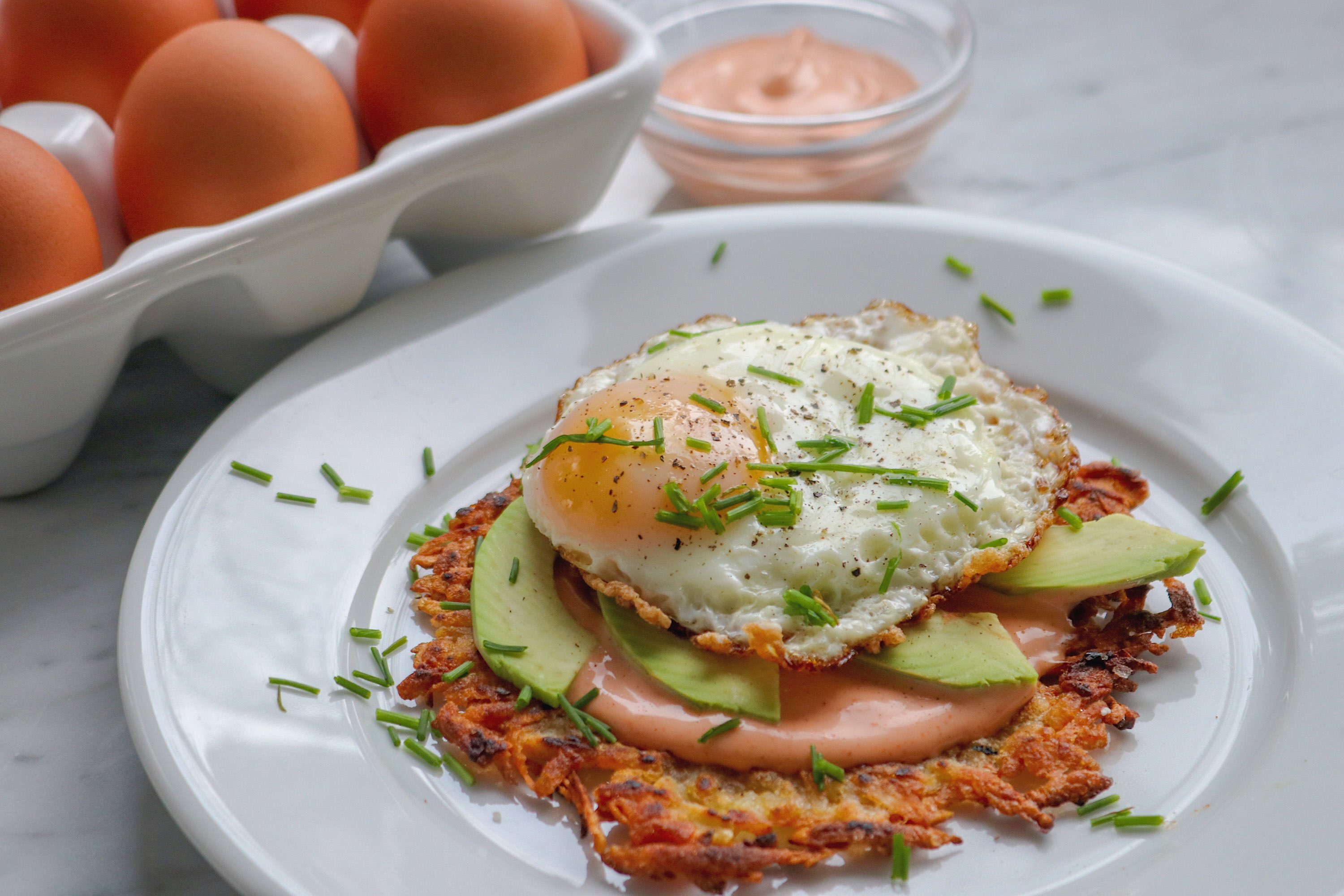 Open Faced Hash Brown And Fried Egg Sandwich Chef Bre S Kitchen